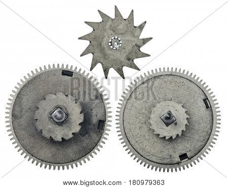 three old steel gears isolated on white background