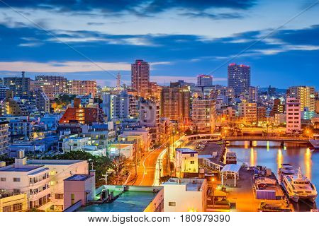 Naha, Okinawa, Japan downtown skyline at night.