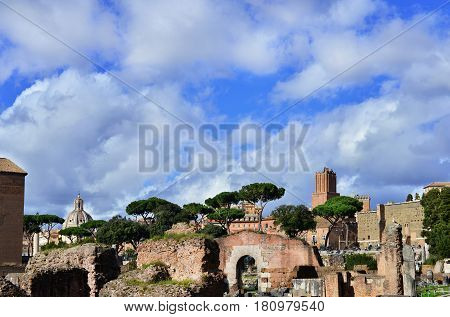 Beautiful clouds above Roman and Imperial Forum in the center of Rome