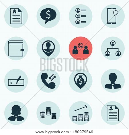 Set Of 16 Management Icons. Includes Messaging, Employee Location, Coins Growth And Other Symbols. Beautiful Design Elements.