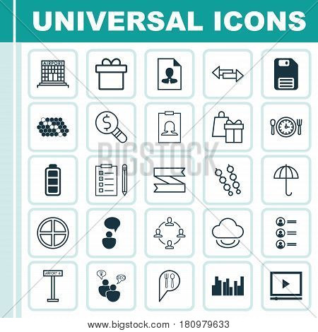 Set Of 25 Universal Editable Icons. Can Be Used For Web, Mobile And App Design. Includes Elements Such As Hive Pattern, Job Applicants, Blank Ribbon And More.