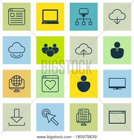 Set Of 16 World Wide Web Icons. Includes Login, Blog Page, Human And Other Symbols. Beautiful Design Elements.