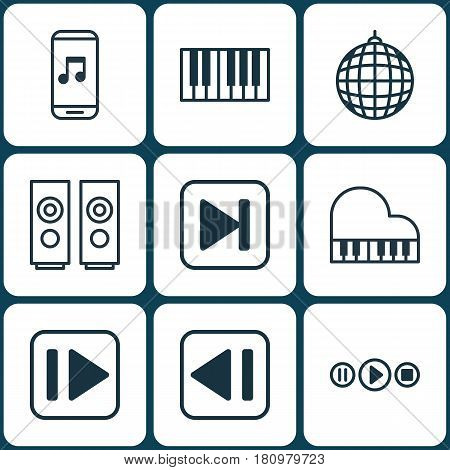 Set Of 9 Audio Icons. Includes Song UI, Audio Mobile, Piano And Other Symbols. Beautiful Design Elements.