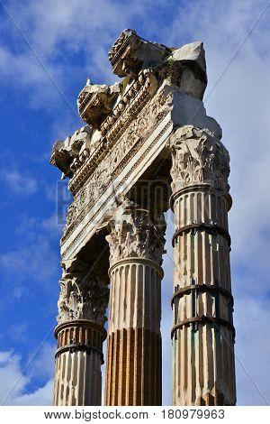 Temple of Venus Genetrix ancient columns from the Forum of Caesar in Rome