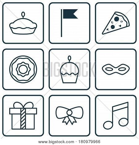 Set Of 9 Holiday Icons. Includes Flan, Sliced Pizza, Carnival Face And Other Symbols. Beautiful Design Elements.