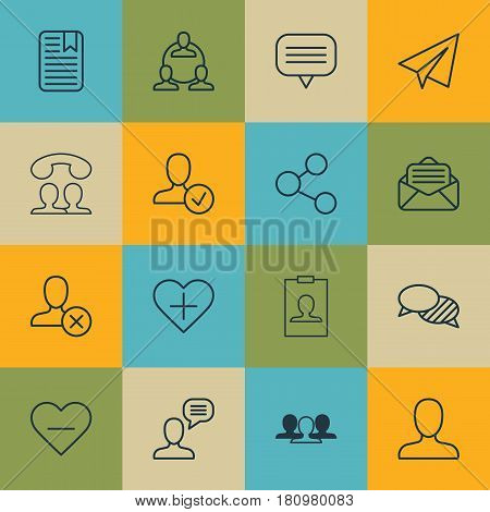 Set Of 16 Social Icons. Includes Read Message, Note Page, Confirm Profile And Other Symbols. Beautiful Design Elements.