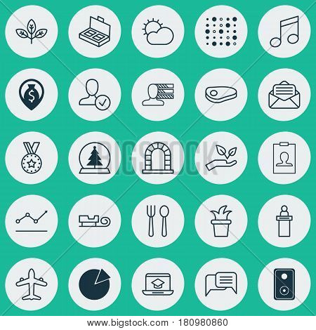 Set Of 25 Universal Editable Icons. Can Be Used For Web, Mobile And App Design. Includes Elements Such As Clear Climate, Variable Architecture, Sprout And More.