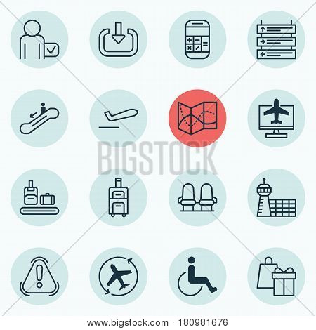 Set Of 16 Transportation Icons. Includes Armchair, Calculation, Airport Building And Other Symbols. Beautiful Design Elements.
