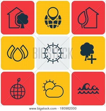 Set Of 9 Eco-Friendly Icons. Includes Insert Woods, Sun Clock, Clear Climate And Other Symbols. Beautiful Design Elements.