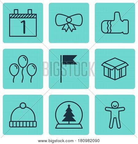 Set Of 9 Christmas Icons. Includes Agenda, Mitten, Shortcake And Other Symbols. Beautiful Design Elements.