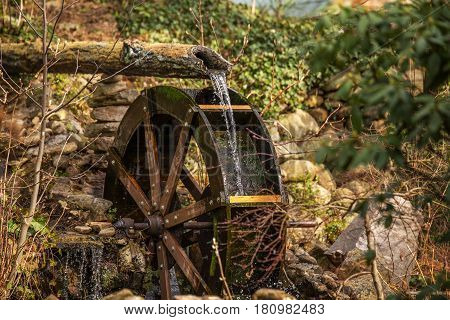 Close up of water spilling out of a wood log onto an old wood and metal water wheel surrounded by green foliage