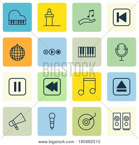 Set Of 16 Music Icons. Includes Rostrum, Note Donate, Octave And Other Symbols. Beautiful Design Elements.