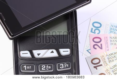 Payment Terminal With Mobile Phone With Nfc Technology And Polish Money, Concept Of Cashless Paying