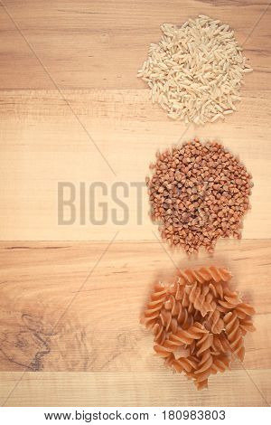 Vintage Photo, Fresh Natural Products Containing Magnesium And Dietary Fiber, Copy Space For Text On