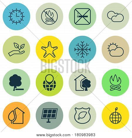 Set Of 16 Eco-Friendly Icons. Includes Cigarette, Cloud Cumulus, Save World And Other Symbols. Beautiful Design Elements.