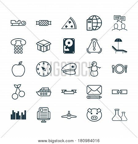 Set Of 25 Universal Editable Icons. Can Be Used For Web, Mobile And App Design. Includes Elements Such As Nectarine, Grouped Bar Charts, Callcentre And More.