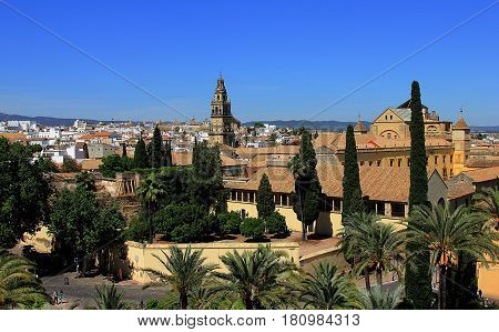 Cordoba, Andalusia, Spain. The view on Alcazar Palas