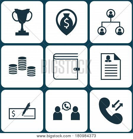 Set Of 9 Human Resources Icons. Includes Phone Conference, Tree Structure, Bank Payment And Other Symbols. Beautiful Design Elements.