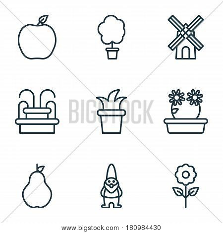 Set Of 9 Garden Icons. Includes Decorative Plant, Nectarine, Floweret And Other Symbols. Beautiful Design Elements.