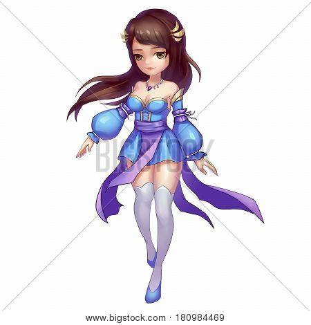 Cool Characters Series: Realistic Cute Cartoon Chinese Girl isolated on White Background. Video Game's Digital CG Artwork, Concept Illustration, Realistic Cartoon Style Background and Character Design