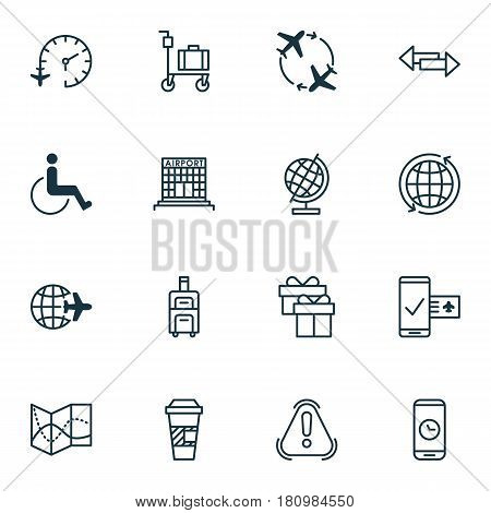 Set Of 16 Traveling Icons. Includes Siren, World Sphere, Present And Other Symbols. Beautiful Design Elements.
