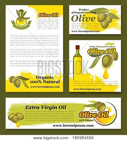Olives and olive oil product templates set. Vector symbols of fresh green olive fruits harvest for Italian cuisine design or extra virgin oil food or cosmetic product bottles and pitchers packaging