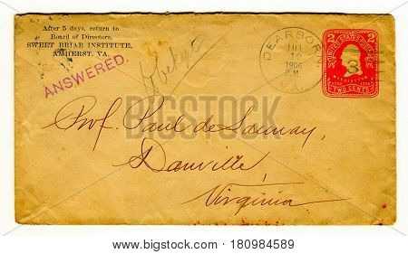 GOMEL, BELARUS - April 7, 2017: Old envelope which was dispatched from Amherst VA. to Dauville, Virginiaa, USA, July 12, 1904.