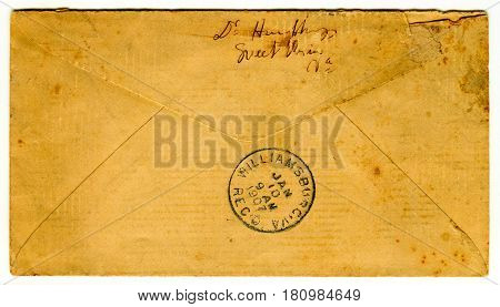 GOMEL, BELARUS - April 8, 2017: Reverse side of the postal envelope.