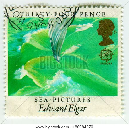 GOMEL, BELARUS, APRIL 9, 2017. Stamp printed in UK shows image of  The Sea Pictures, Edward Elgar, circa 2011.
