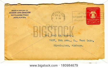 GOMEL, BELARUS - April 7, 2017: Old envelope which was dispatched from Atlanta to Birmingham, Alabama, USA, April 5, 1926.