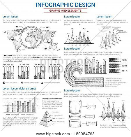 Infographics icons set for statistics and analytics. Vector elements of consumer marketing and business diagrams and growth charts, flowchart graphs, world map percent share bars and pie circles