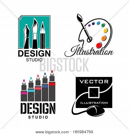 Design studio vector icons for graphic and illustration designers agency or art company. Monitor with drawing tablet or computer mouse and symbols set of artist paint palette and paint brushes