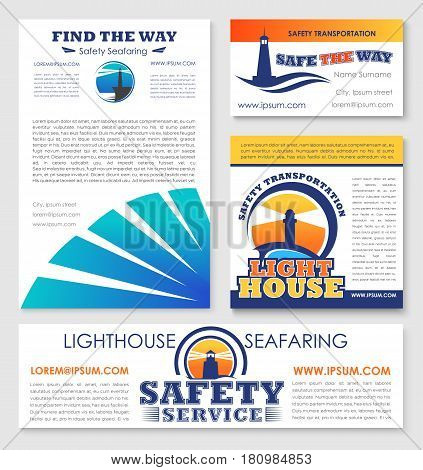 Safety marine transportation service company business templates set of vector posters, web banners and business card. Design with lighthouse or navy ship safe seafaring and navigation beacon symbols