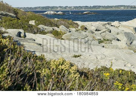 Rocky shoreline at Sachuest Point on Sakonnet River