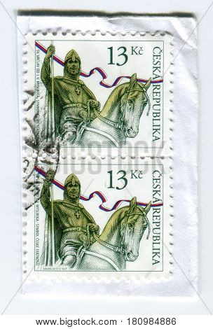 GOMEL, BELARUS, APRIL 7, 2017. Stamp printed in Czech Republic shows image of  The Wenceslaus I, Wenceslas I, Vaclav the Good or Saint Wenceslaus was the duke of Bohemia, circa 2013.