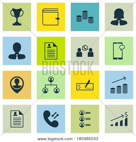 Set Of 16 Human Resources Icons. Includes Successful Investment, Messaging, Cellular Data And Other Symbols. Beautiful Design Elements.