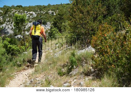 Hiking in Guara Mountains, Huesca Province, Aragon, Spain.
