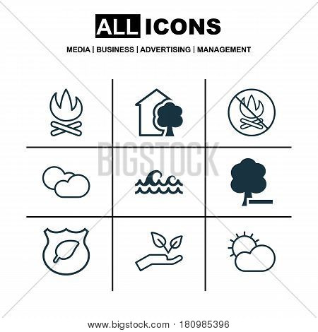 Set Of 9 Eco Icons. Includes House, Cloud Cumulus, Fire Banned And Other Symbols. Beautiful Design Elements.