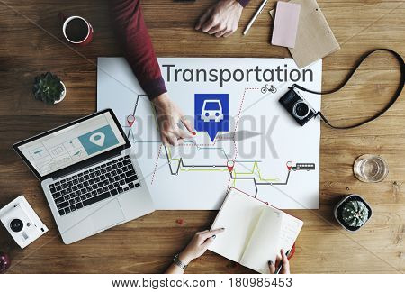 Map Route Trip Transportation Location Guide