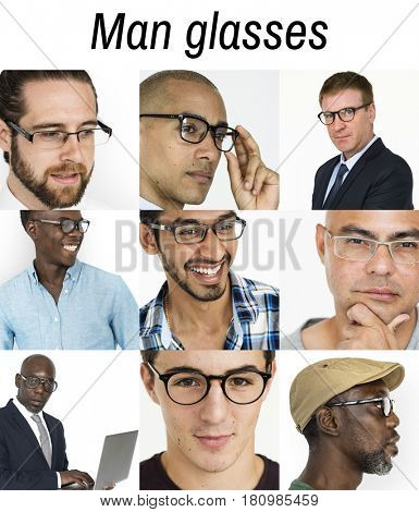 People Set of Diversity Men Wearing Eyeglasses Studio Collage