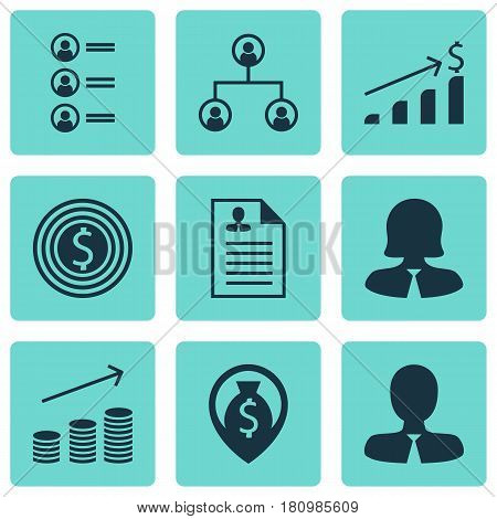 Set Of 9 Hr Icons. Includes Job Applicants, Coins Growth, Successful Investment And Other Symbols. Beautiful Design Elements.