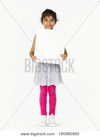 Happiness little girl smiling holding blank placard