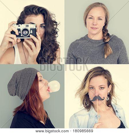 Set of Diversity People Face Expression Emotion Studio Collage