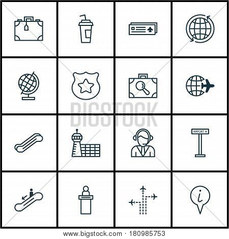 Set Of 16 Travel Icons. Includes Airport Card, Operator, Baggage Research And Other Symbols. Beautiful Design Elements.