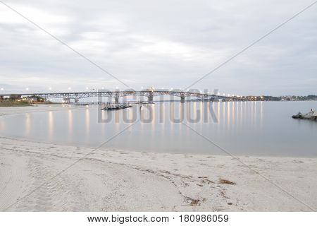 Chesapeake Bay Bridge at Dusk with Light Reflections