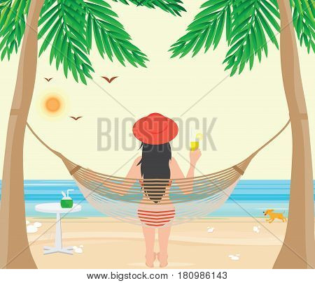 Pretty woman relax on the Beach cradle after hard working from office Relaxation concept vector illustration.
