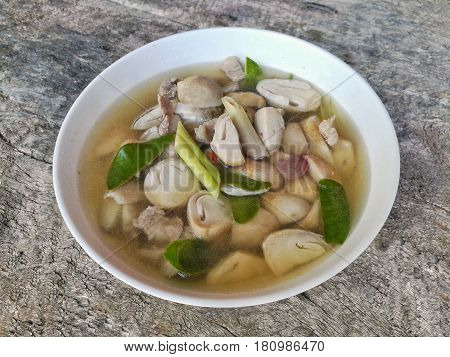 Thai style food. Straw mushroom in Hot and Sour Clear Soup.