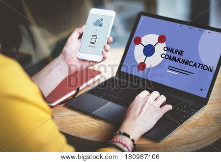 Woman connected with social network online community