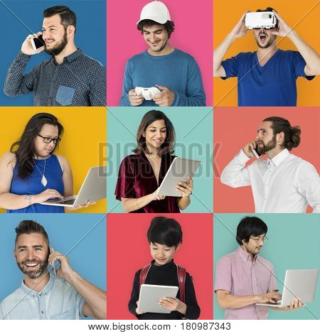 Collages diverse people with gadgets concept