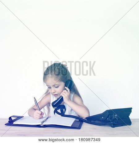 Girl Busy Working Secretary Talking Phone
